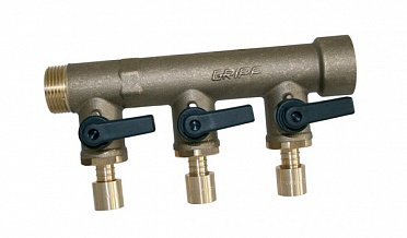 "Sanitary and heating manifold type Fc Ø27 - inlet M 3/4"" - outlet to slide with integrated valves - end F 3/4"""